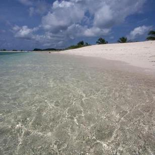Crystal clear waters at sandy island.