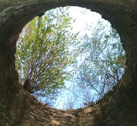 Looking up from inside the windmill.