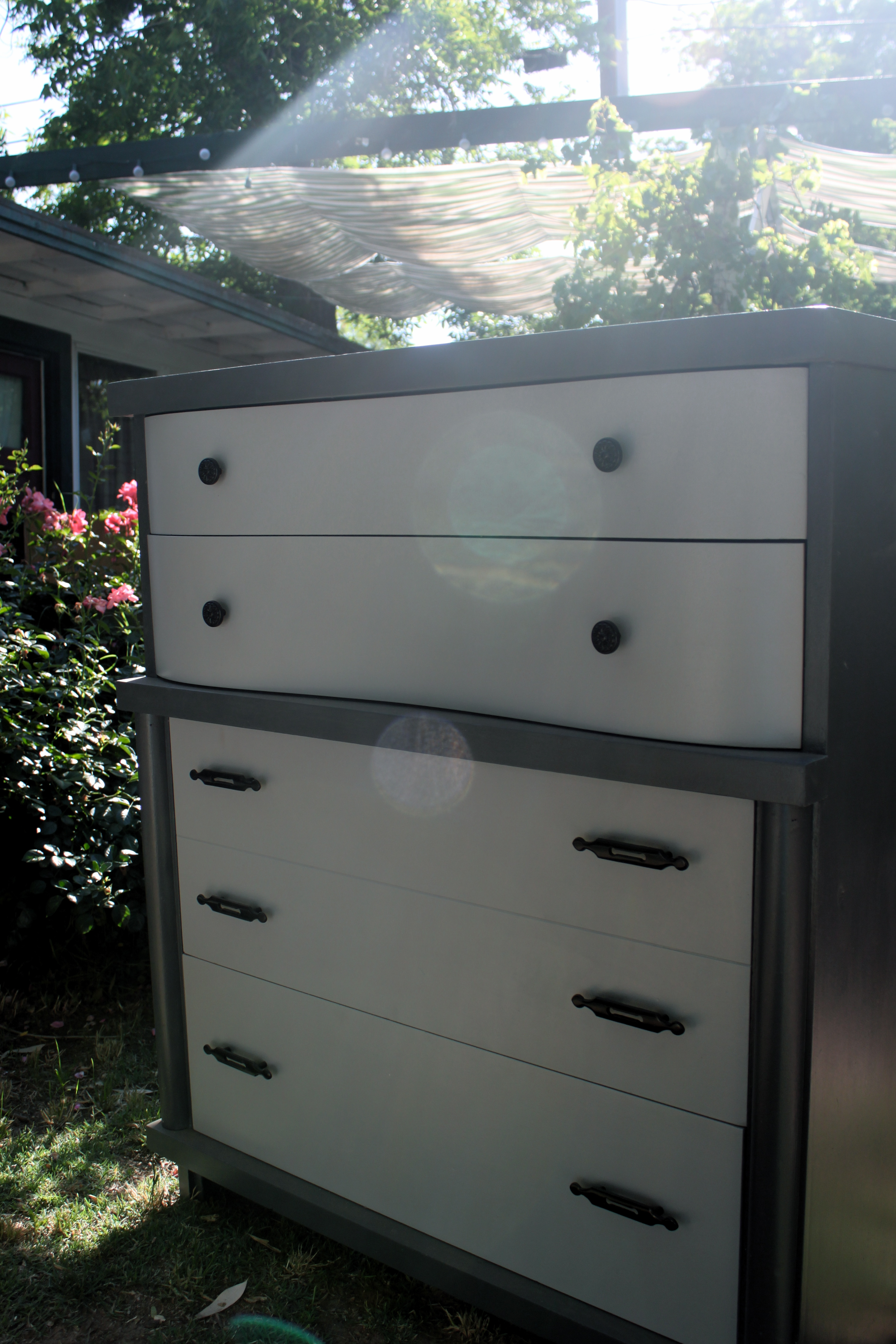 Large Charcoal Colored Five Drawer Dresser With White