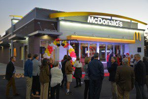A crowd gathers around the new Montgomery Cross Rd McDonalds.