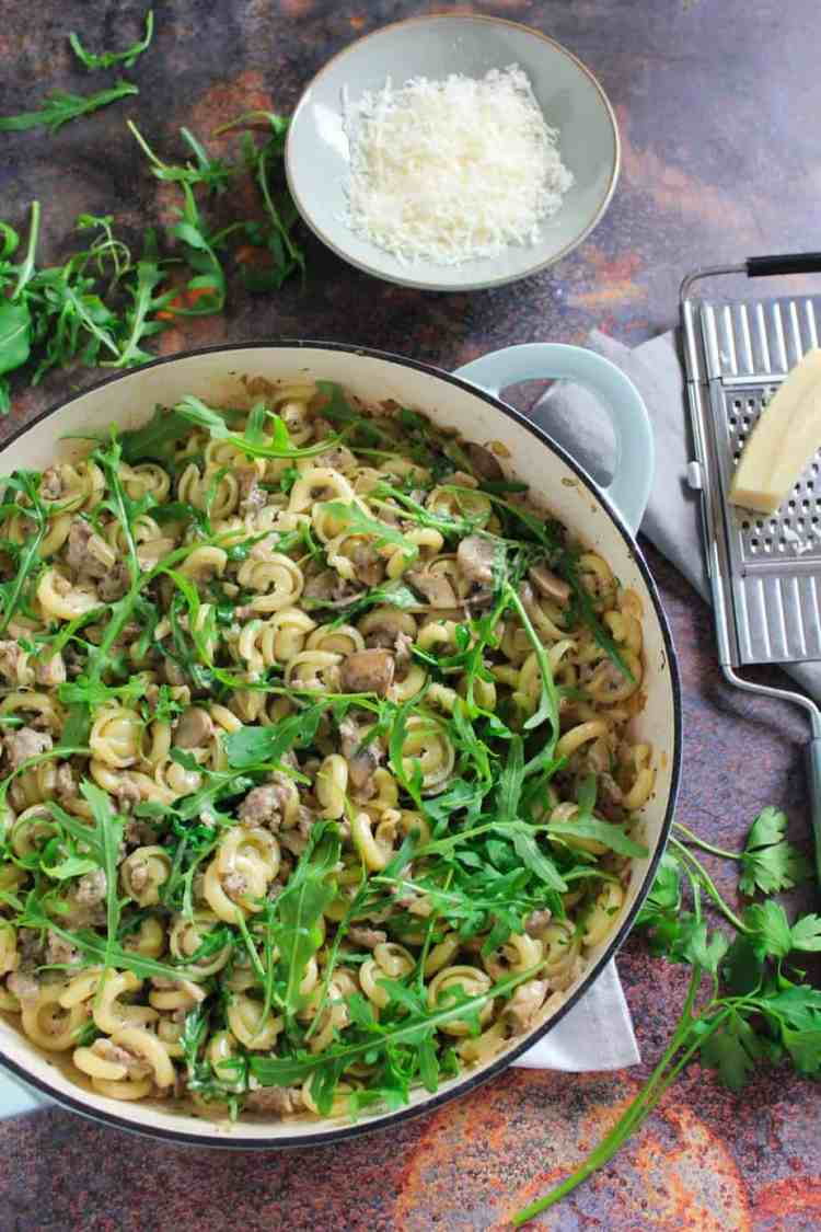 This easy Sausage and Mushroom Pasta with Rocket is a real crowd pleaser. Full of savoury flavour with an added bite of peppery rocket.