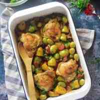 Chicken and Chorizo Tray Bake with Potatoes and Olives