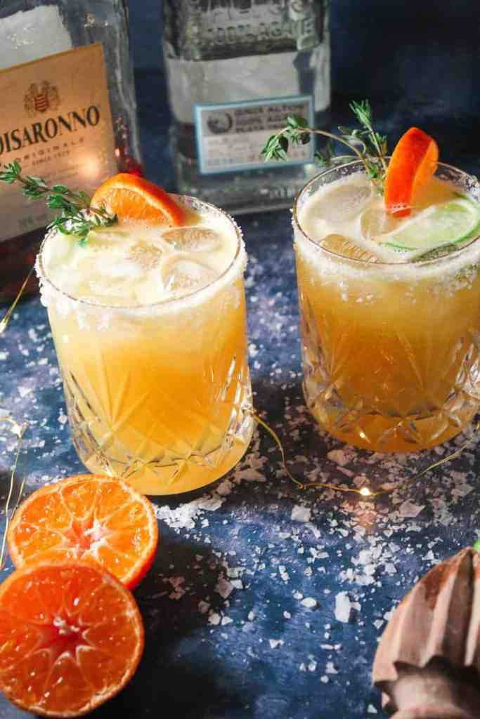 Festive Margaritas with Amaretto and orange