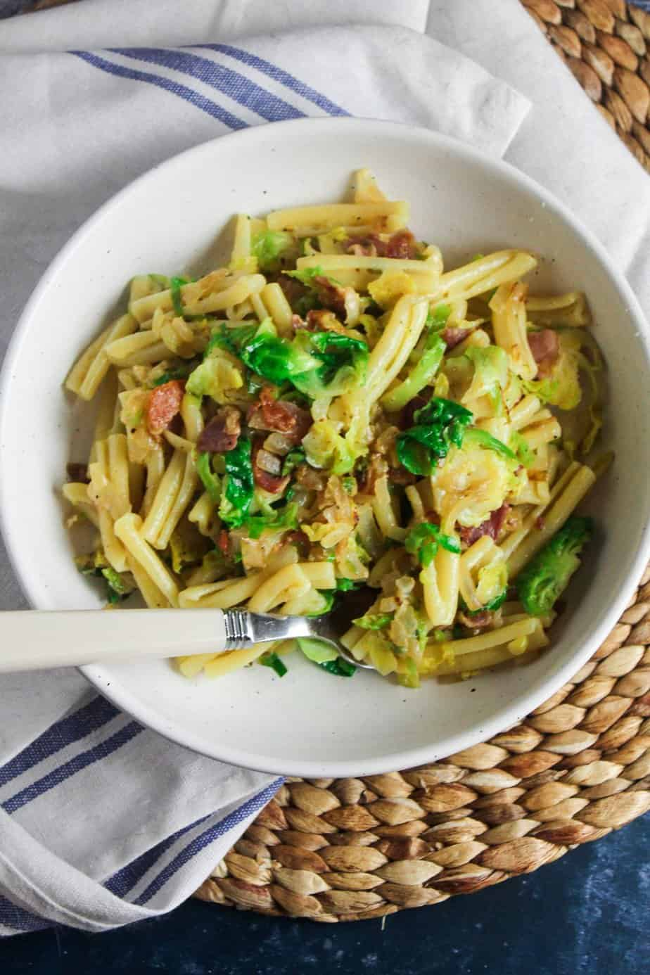 Brussels Sprouts and Bacon Pasta