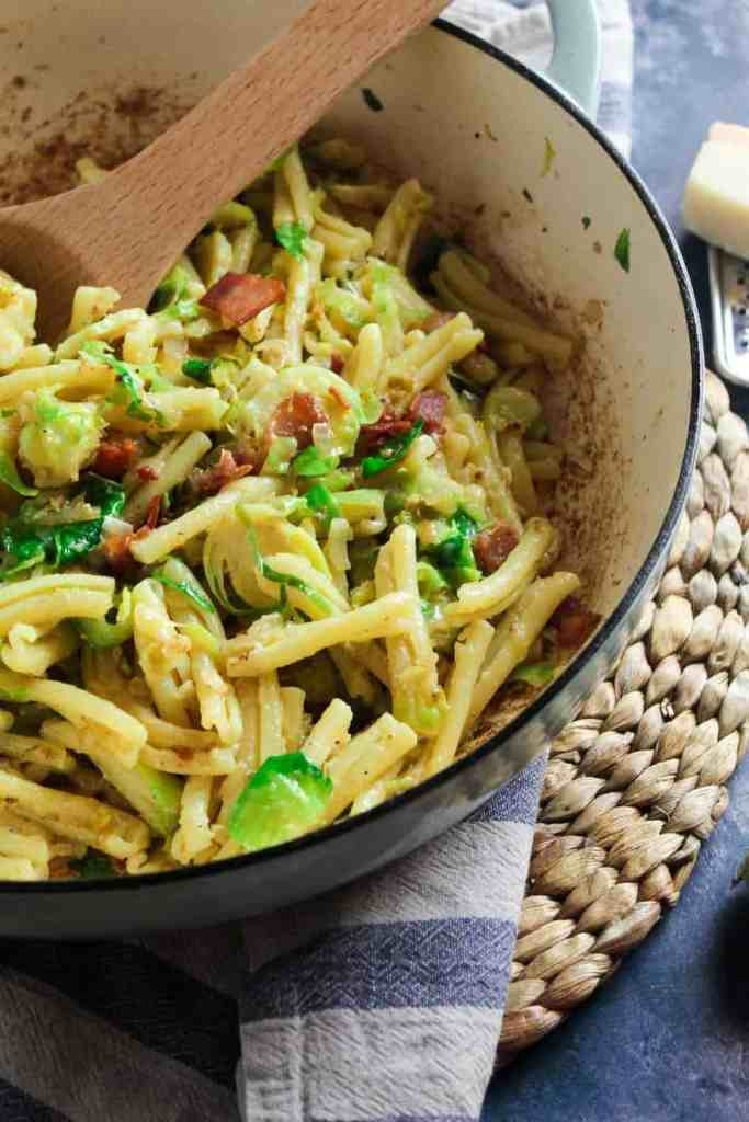 close up of brussels sprouts and bacon pasta