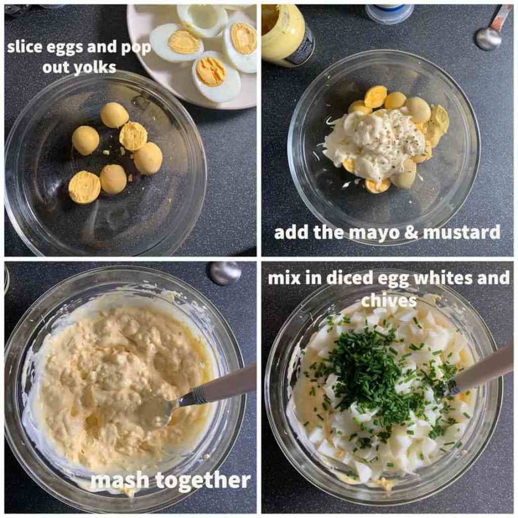 process shots of egg mayonnaise