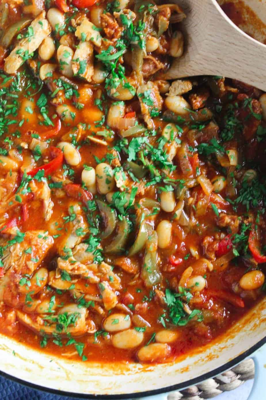 Chicken and Chorizo Stew with Cannellini Beans