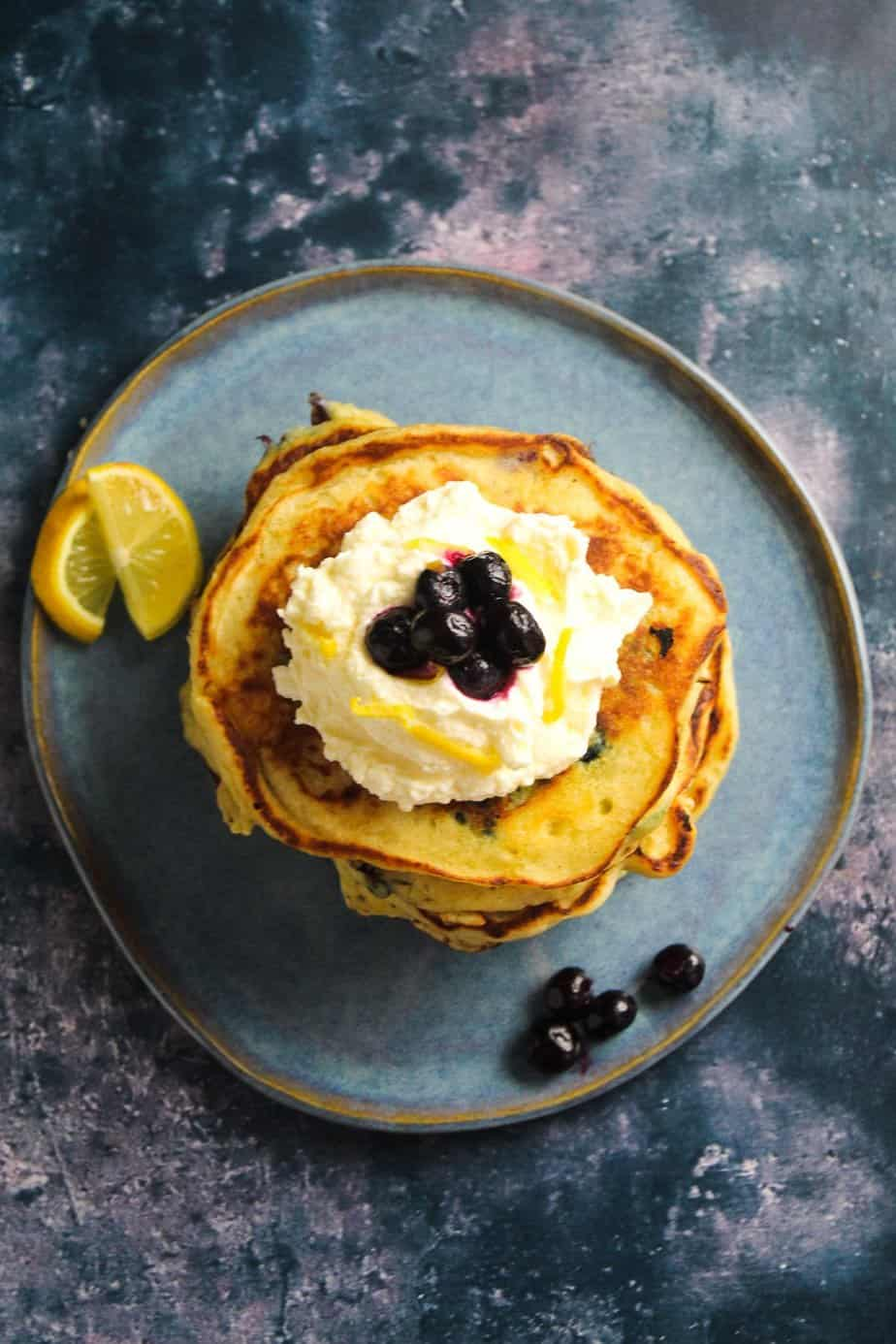 Lemon Blueberry Pancakes with Lemon Mascarpone