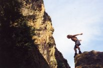 14 Sep 1999 Smith Rock - Monty jumping Southern Tip
