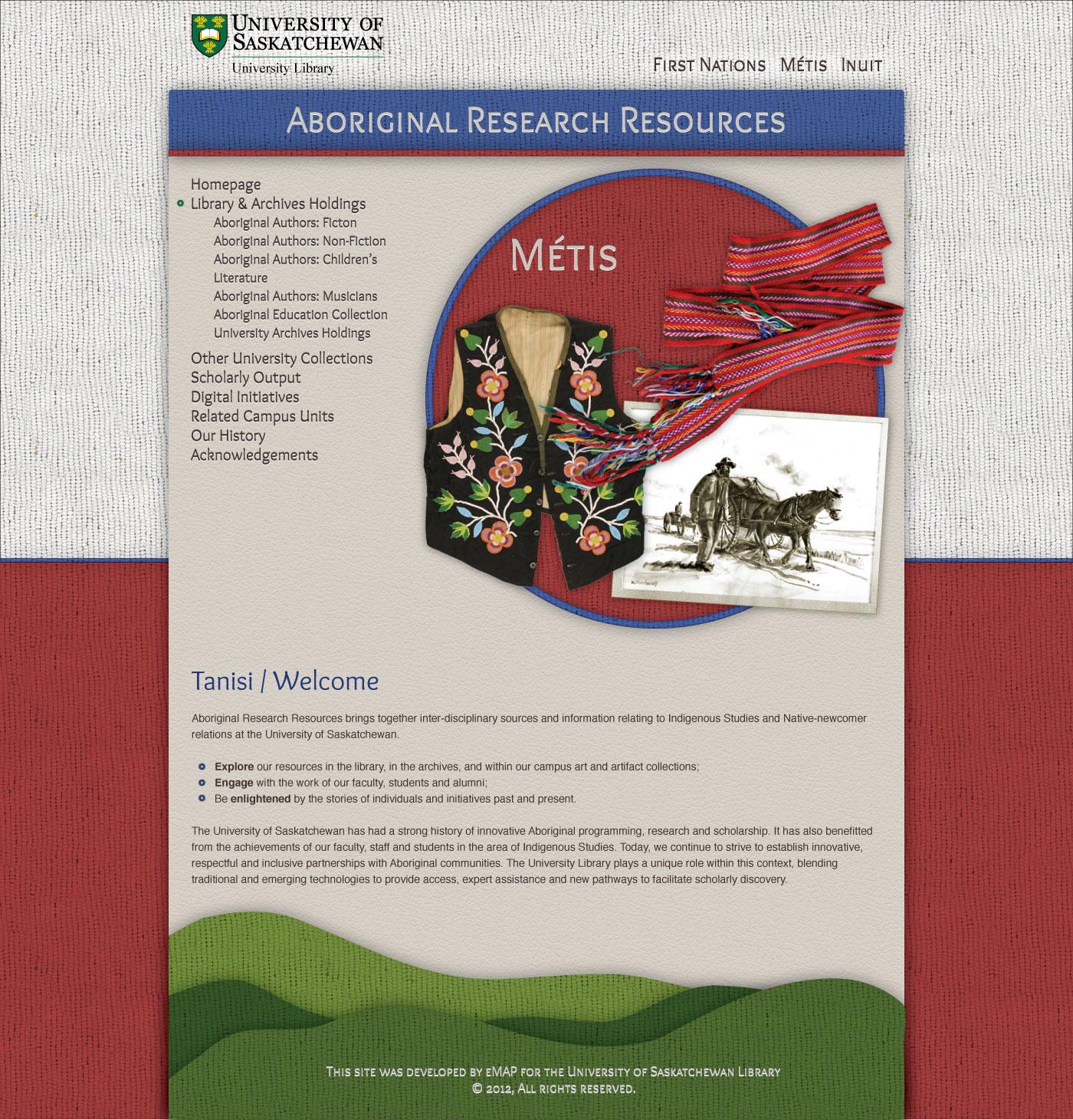 Aboriginal Research Resources Homepage Mockup