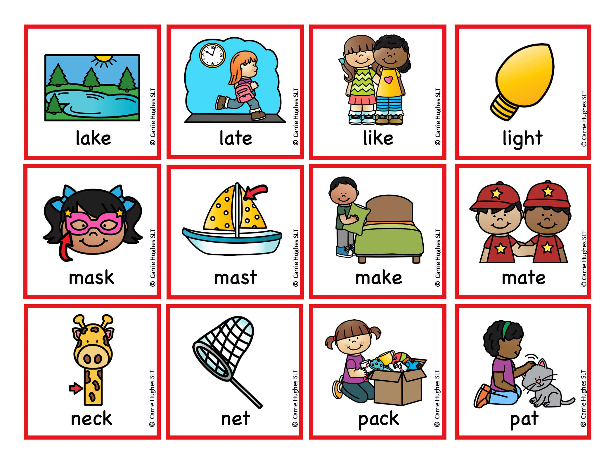 Minimal Pairs K And T Picture And Word Cards