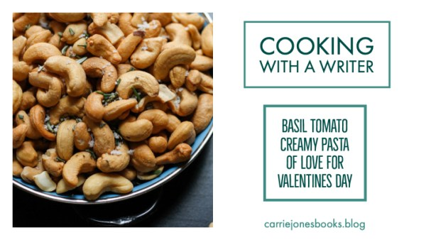Quirky and funny vegetarian recipes redone with author Carrie Jones featuring Basil Tomato Creamy Pasta for Valentines Day