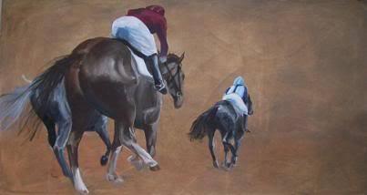 """Race Horses, 36""""x72"""" Oil on Canvas $1,000"""