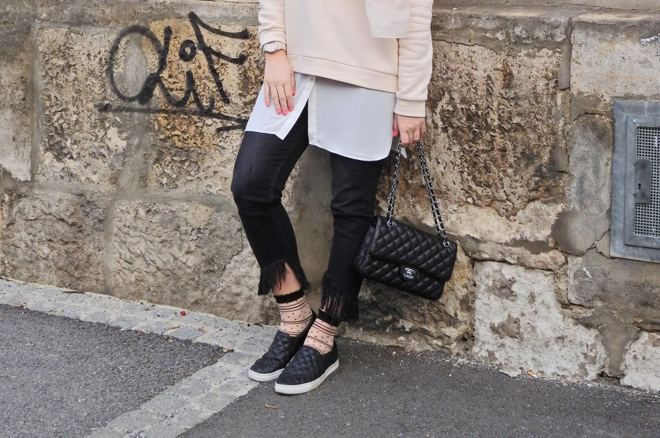 Nude Volant Sweater, Fringed Jeans, Fashion Socks, Chanel Bag