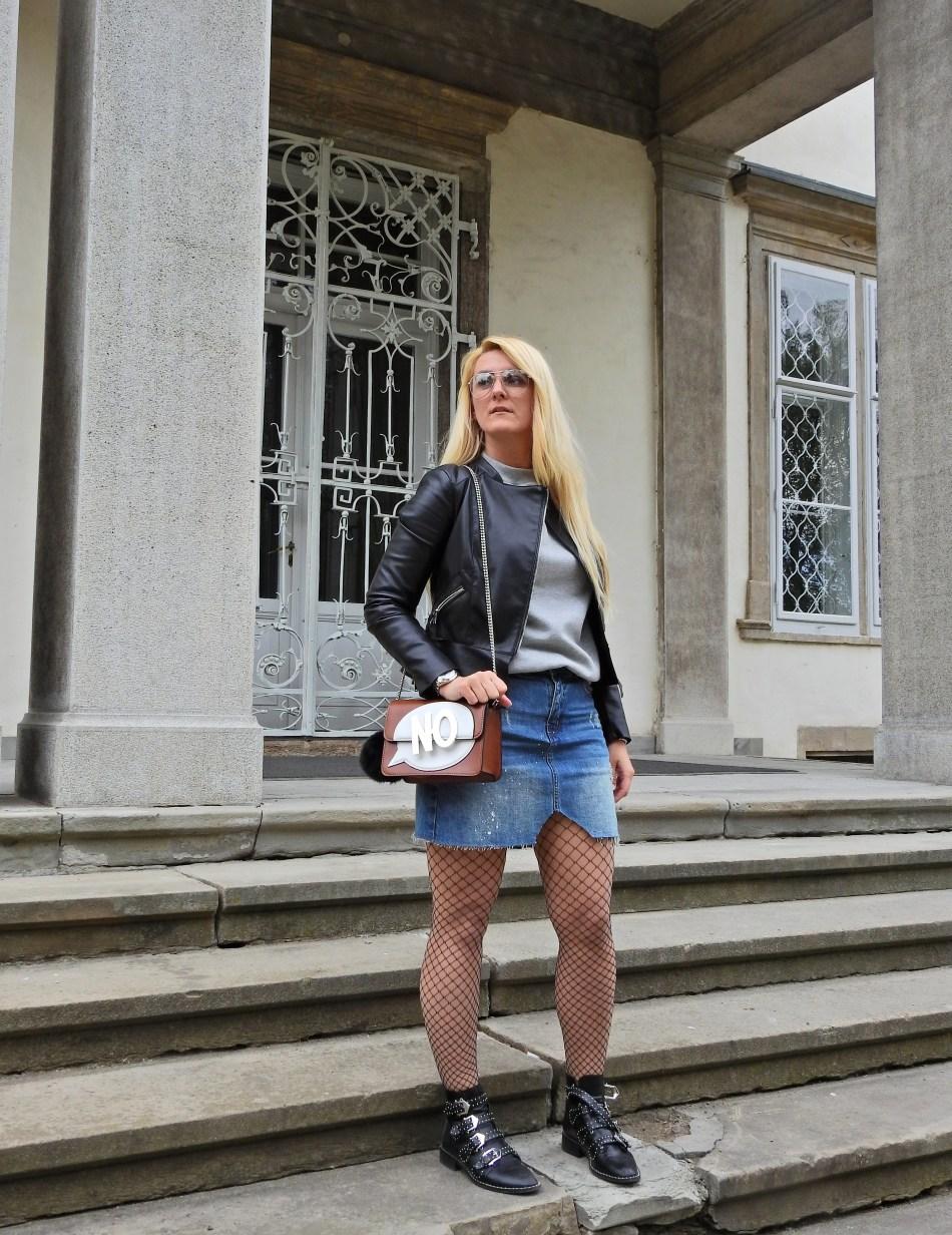 Denim Skirt, Fishnet Stockings, Jessica Buurman Booties, Grey Sweater, carrieslifestyle