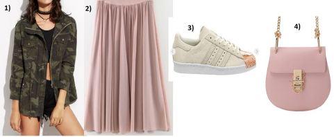 Camouflage-Jacket-Plisse-Skirt-Pink-Adidas-Metal-Toe-Sneakers