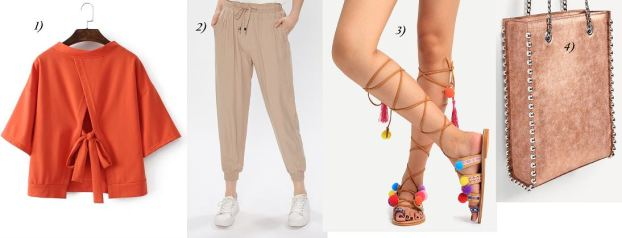 orange-shirt-beige-pants-metallic-bag-pompom-sandals-carrieslifestyle-tamara-prutsch