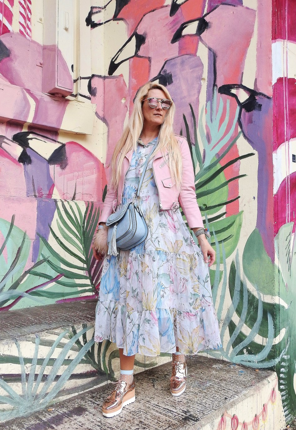 Fashionsocks-Floralprint-Maxidress-Springvibes-Springlook-Leatherjacket-pink-Daniel-Wellington-Watch-Chloe-Bag-carrieslifestyle-Tamara-Prutsch-H&M-Stella-Mccartney-Platforms