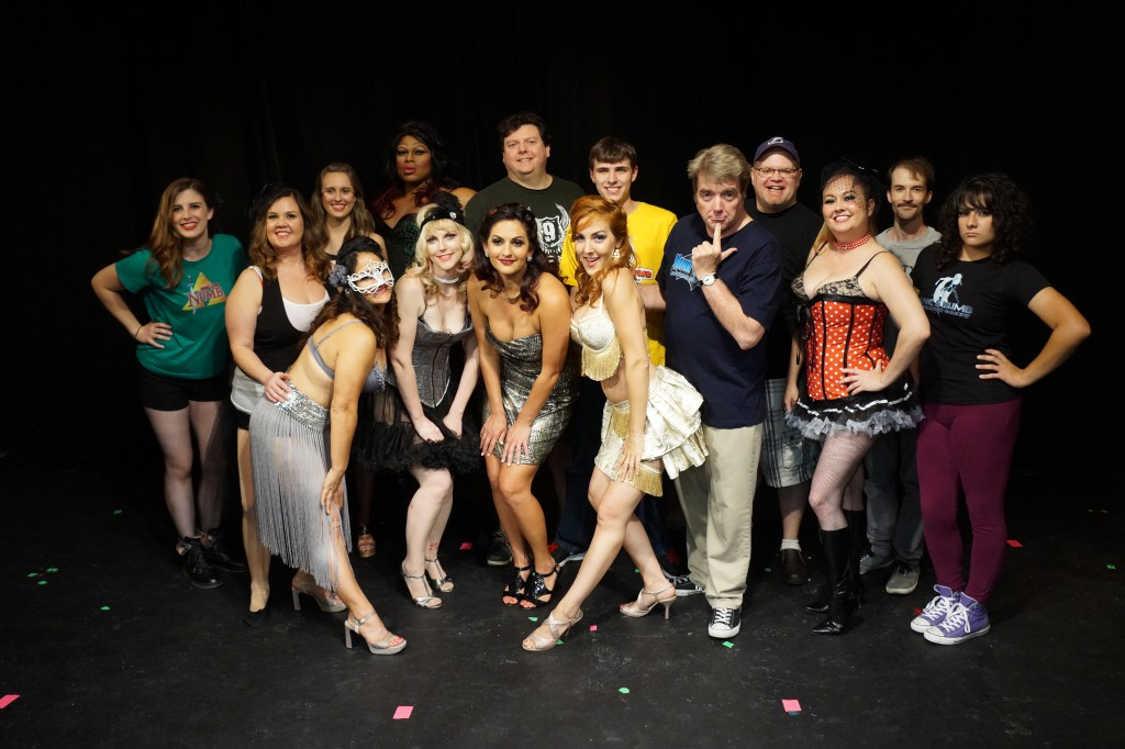 Late-night Life Amplified MASQUERADE with Nine and Numb improv troupe and Kat Skratch Burlesque for nonprofit, Carrollwood Players Theatre.