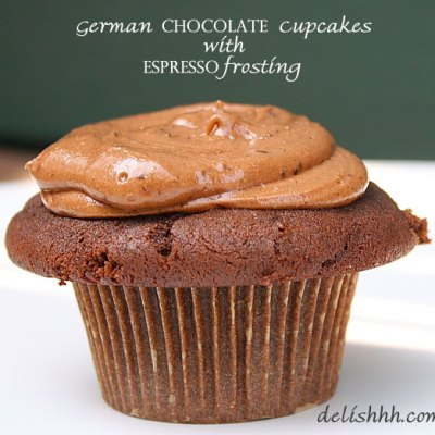 German Chocolate Cupcakes with Espresso Frosting