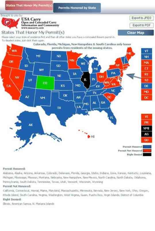 USA Carry Reciprocity Map