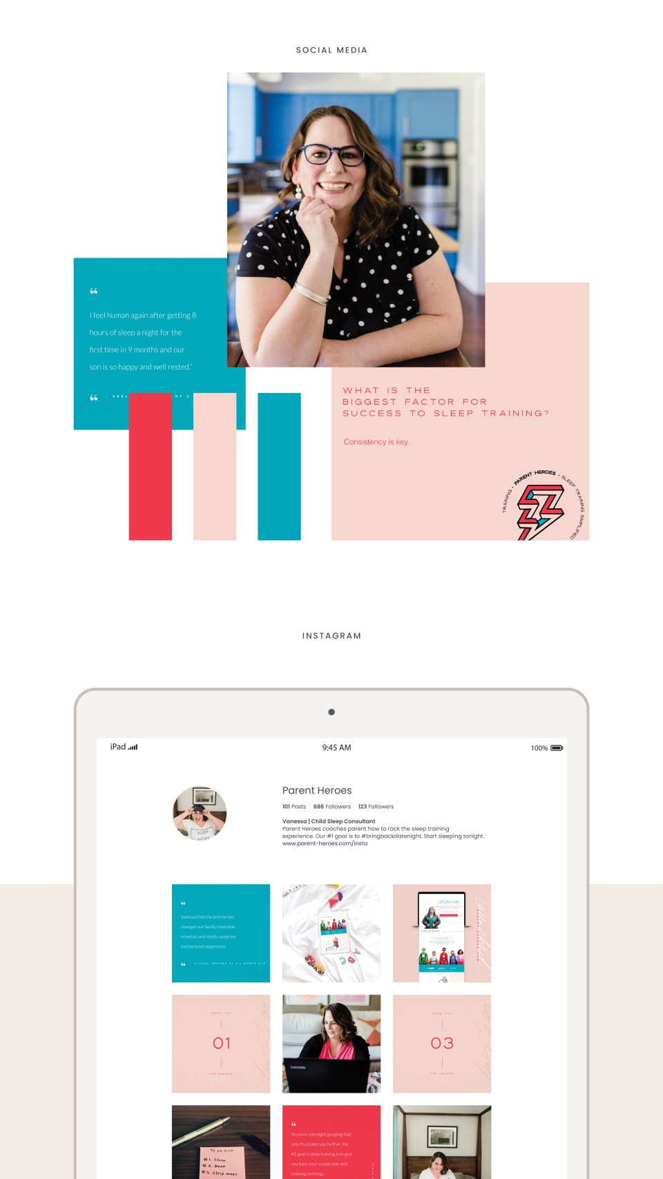 A child sleep consultant brand for Parent Heroes located in Austin, Texas. Check out the brand and Showit website design by Carrylove Designs.