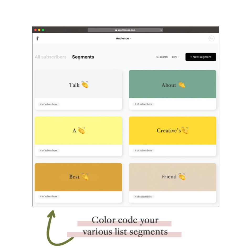 color code your list segments in flodesk to keep your email marketing organized