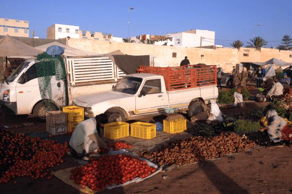 Peugeot_504_pick_up-Hyundai_H100-Morocco-Africa-street_scene-2015