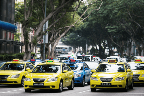 Hyundai Sonata taxi. Singapore street scene