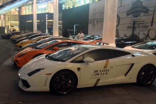 Lamborghini Gallardo, Lamborghini Aventador, Lamborghini Huracan. Singapore street scene