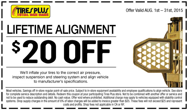 Walmart Oil Change Price >> Tires Plus $20 OFF wheel alignment coupon August 2015