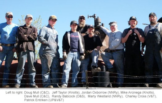 Left to right: Doug Mull (C&C), Jeff Taylor (Knotts), Jordan Oxborrow (NNRy), Mike Arcinega (Knotts), Dave Mull (C&C), Randy Babcock (D&S), Marty Westland (NNRy), Charley Cross (V&T), Patrick Entriken (UP&V&T)