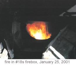 Fire in #18s firebox, January 25, 2001