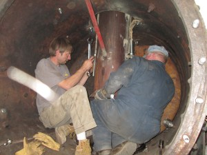 Marty and Randy installing the front end components