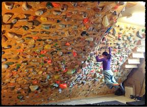 Photo courtesy of Noah Kaufman Valley ER doctor Noah Kaufman built this climbing wall in his garage.