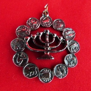 Zodiac Pin with Menorah