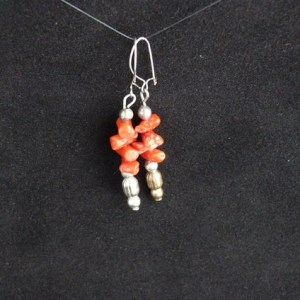 Pierced Coral Earrings with Silver Tone Beads