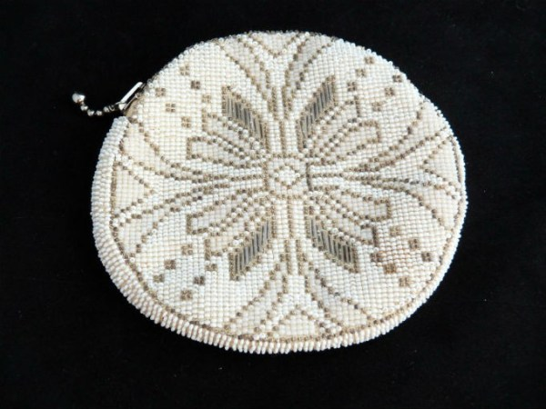 Off White Seed Bead Purse with Flower Design trimmed in GoldSeed beads
