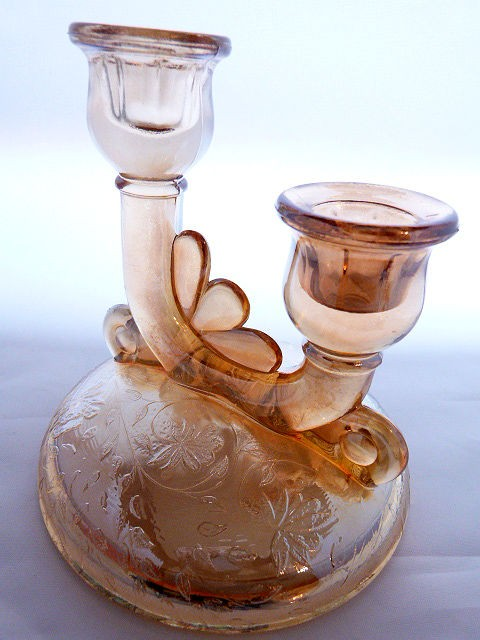 Vintage Flora Gold Double Candlestick by Jeannette Glass
