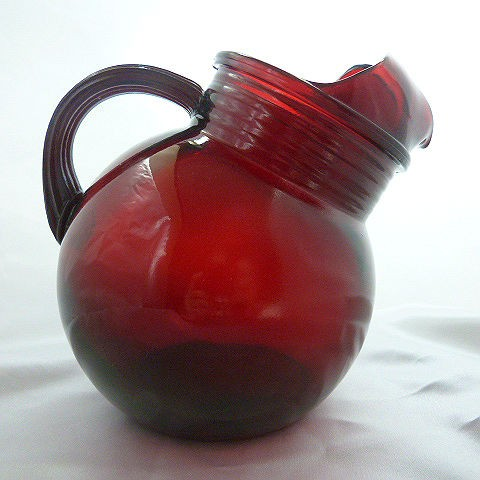 Ruby Red Slanted Ball Pitcher with Ice Lip by Anchor Hocking