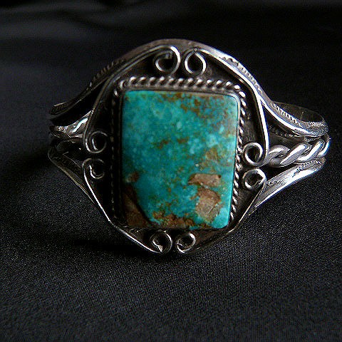 Vintage Pawn Cuff Square Nevada Turquoise