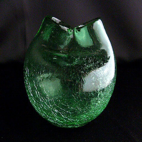 Hand Blown Crackle Green Glass Vase