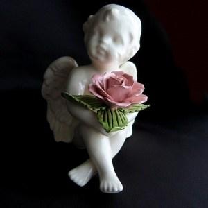 Angel Cherub with Pink Rose