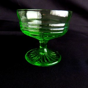 Circle Pattern Green Glass Sherbet Dish