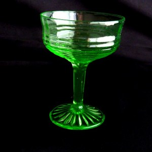 Circle Pattern Green Glass Tall Sherbet