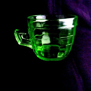 Block Optic Green Glass Coffee Mug