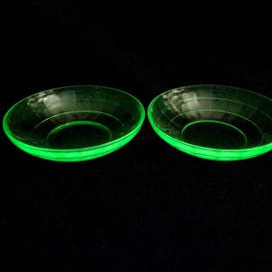 Green Depression Block Optic Glass Cereal Bowl