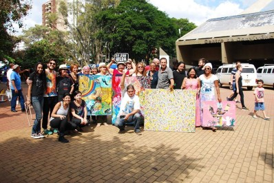 Protesto de artistas de Campinas realizado no último sábado (11) contra o fechamento da Oficina Hilda Hilst em Campinas