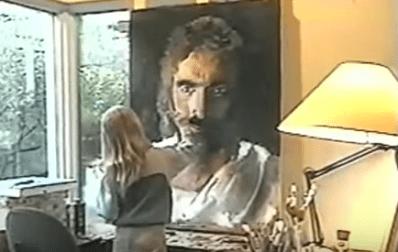 Imagem de Akiane pintando Jesus em vídeo do youtube divulgado pelo Domingo Espetacular.