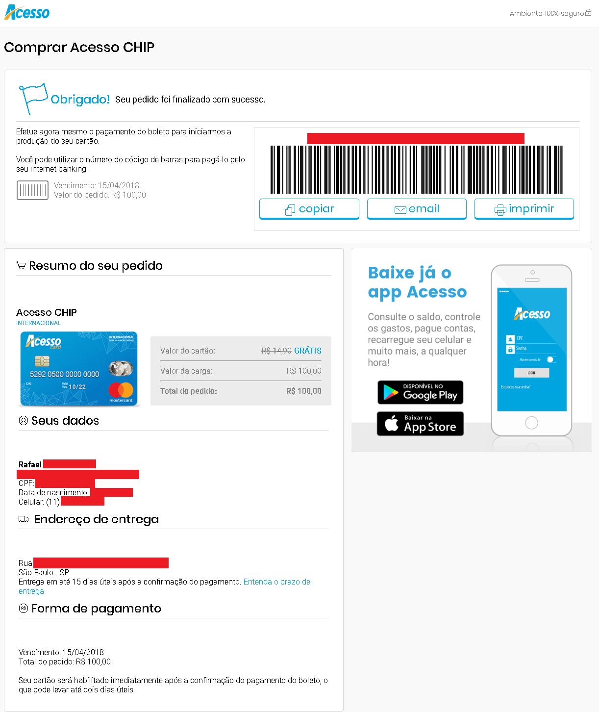 Cartão Acesso Chip emitir boleto